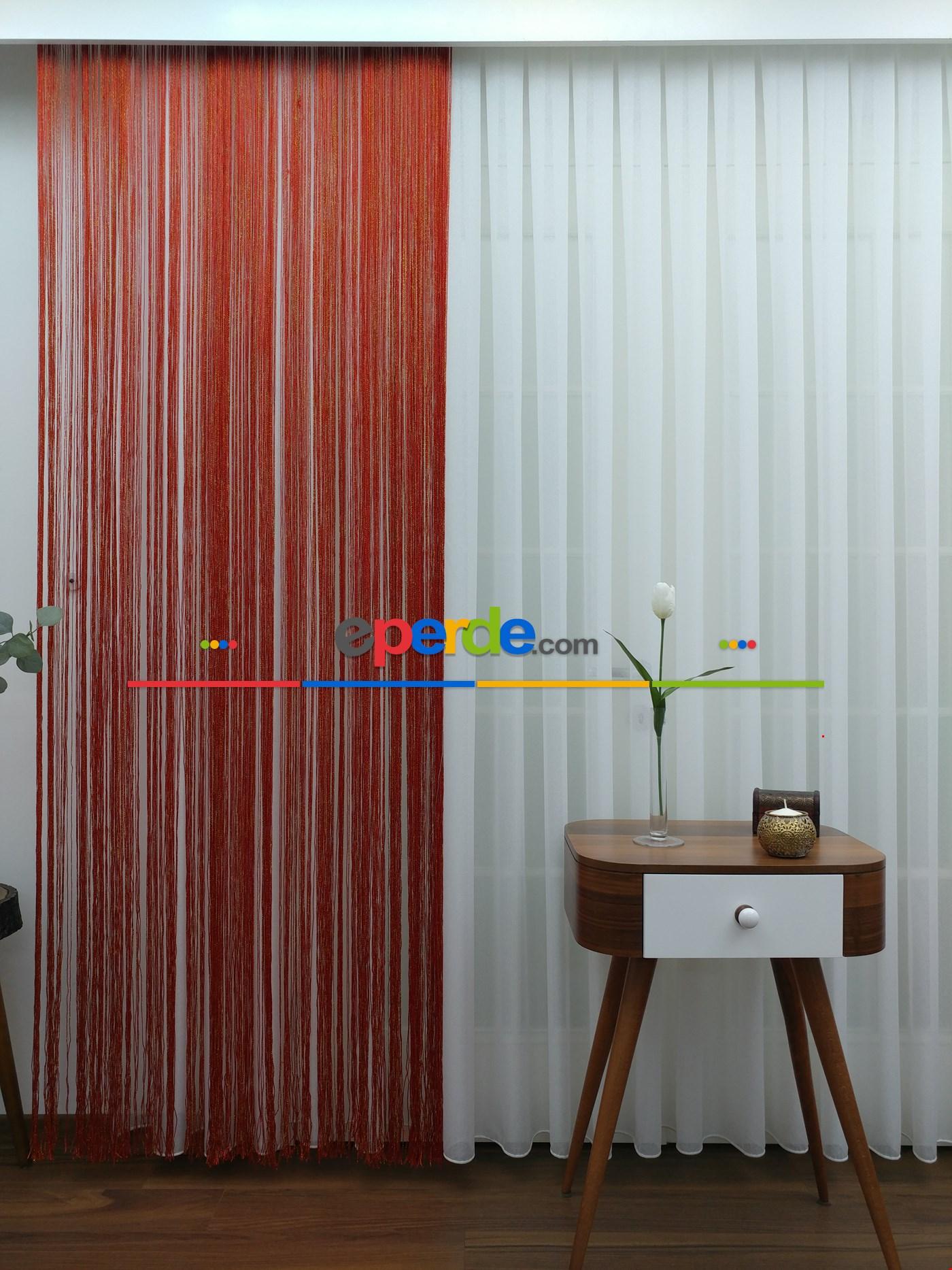 Yeşil ( Altın Simli ) - İp Perde Simli Seri Kırmızı - Altın Simli