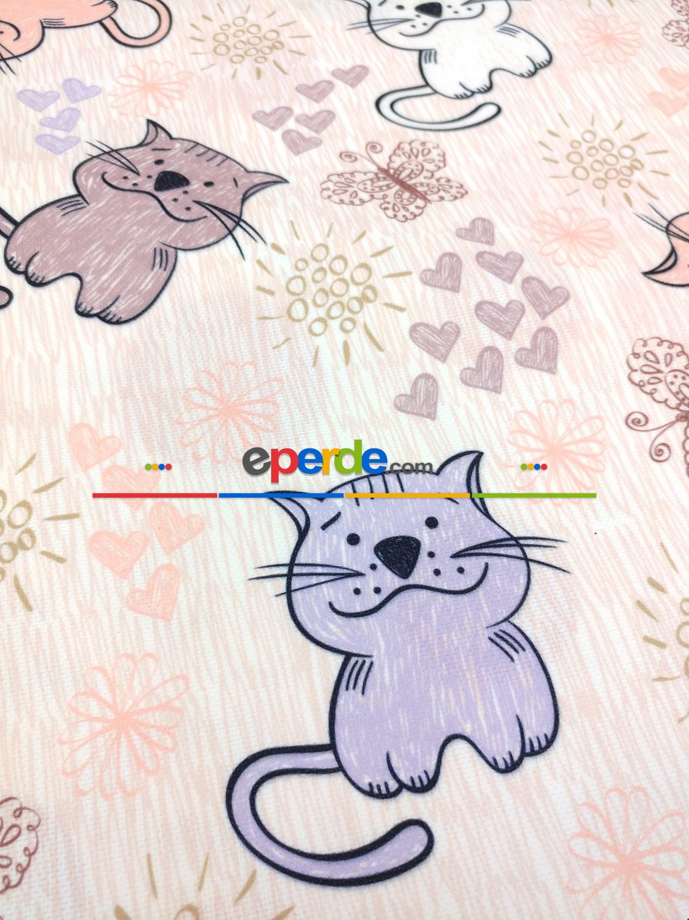 Metre İle Dikişsiz Kumaş - Kedicikler Desenli Çocuk Odası Fon Perde