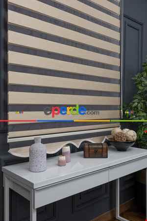 Salon - Yüksek Kaliteli Düz Bambu Koyu Krem Zebra Perde Koyu Krem