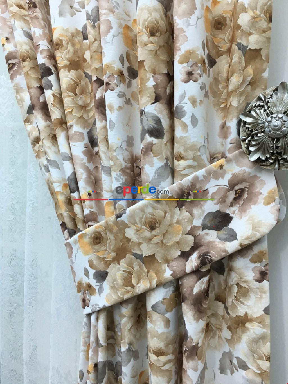 Fon Perde Kahve-sarı-füme Çiçek Desenli