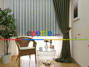 Salon Perdesi - Haki Yeşili - Düz Keten Fon Perde ( En 180cm Keten Fon Perde)- Yeşil