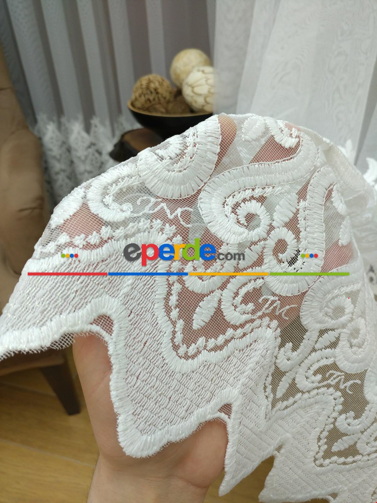 Havlu Brode Nakış İşlemeli Tül Perde (piyasanın En Gramajlısı )