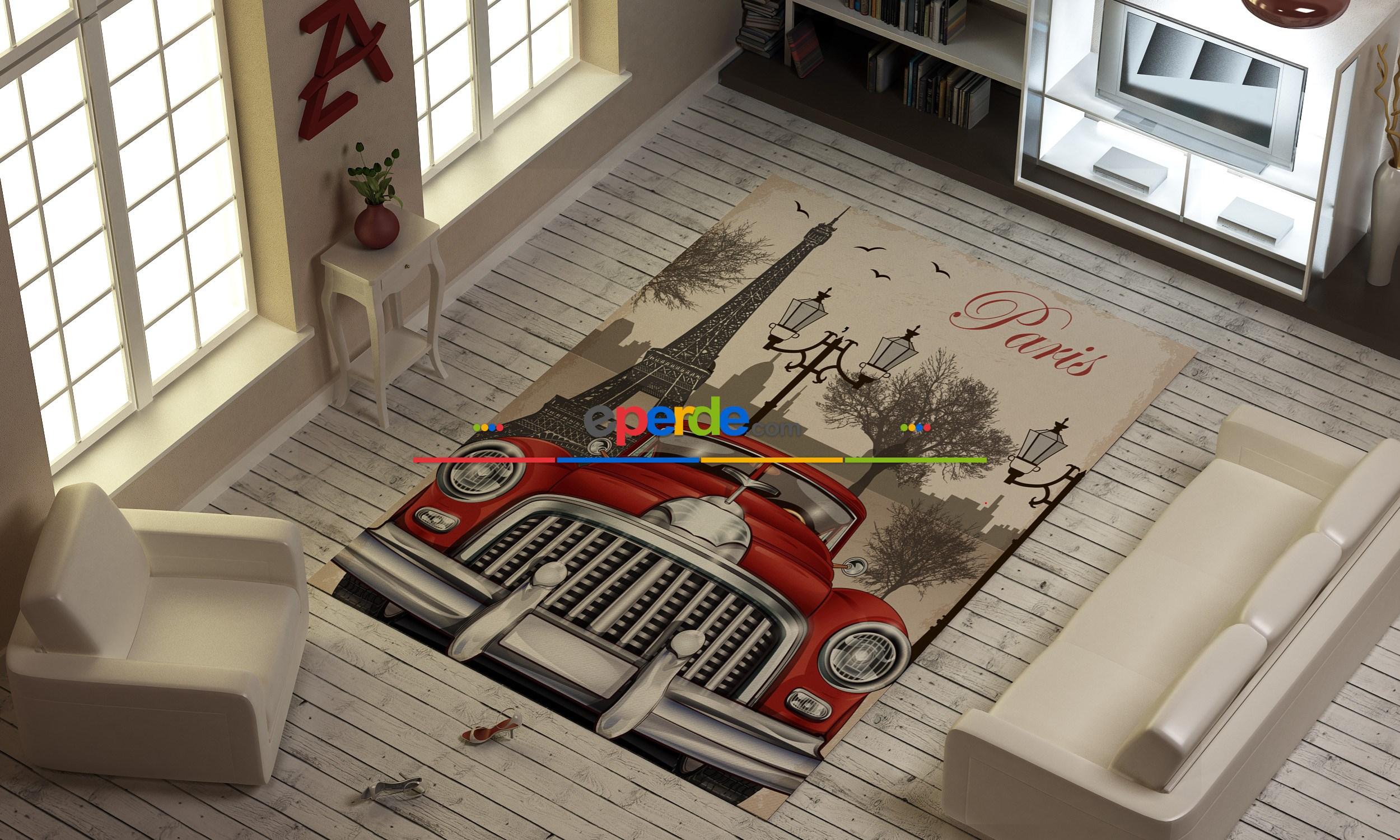 Kırmızı Araba Ve Eyfel Kulesi Baskılı Halı