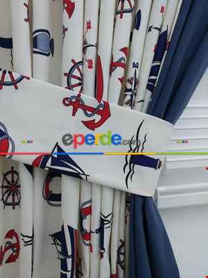 Çapa Denizci Desenli Fon Perde Çift Renk Cırt Kombinli ( Kalın Pamuklu Kumaş )- Lacivert-mavi-kırmızı