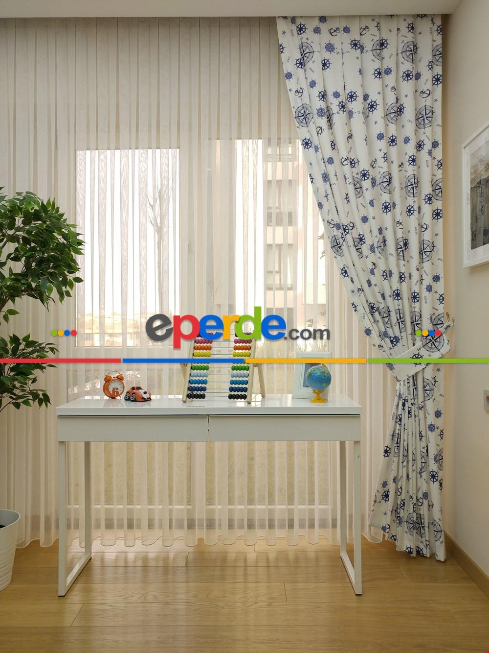 Gemici Desenli Fon Perde Erkek Çocuk Ve Bebek Odası