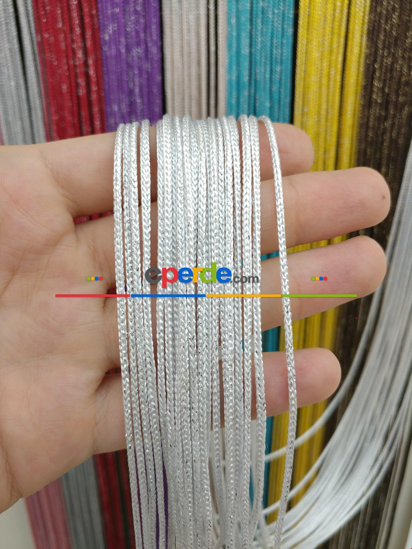 Bej Rengi İp Perde Kalın Zincir Simli Serisi Beyaz - Gümüş