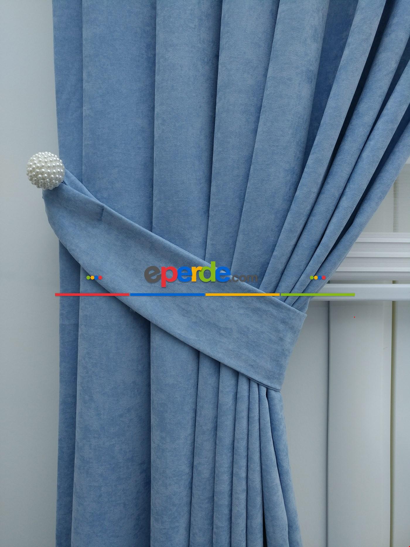 Mavi Düz Fon Perde Mavi Açık