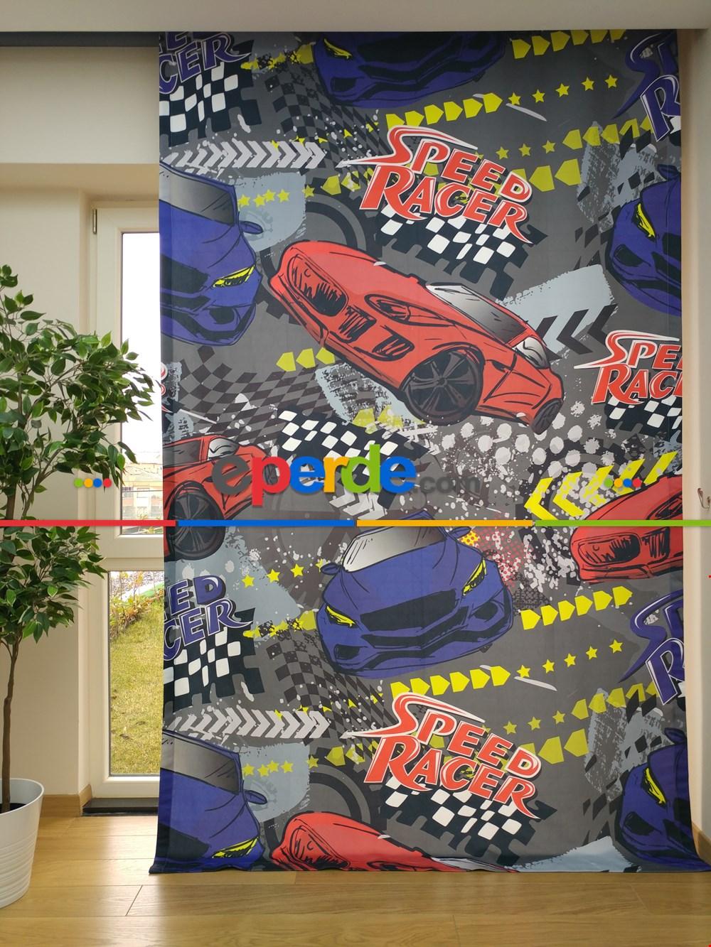 Erkek Çocuk Odası Arabalar Baskılı Fon Perde - Speed Racer
