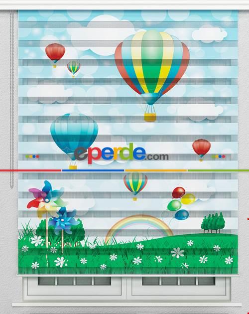 Çocuk Odası Perdesi, Bulut, Gökkuşağı, Balon Desenli Zebra Perde