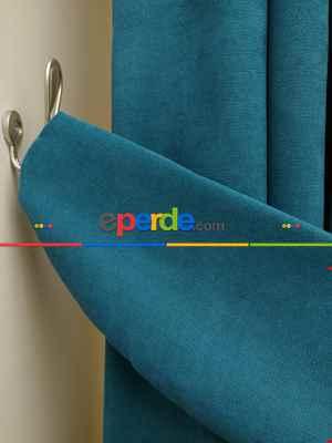 Petrol Düz Fon Perde Dökümlü- Petrol Mavisi