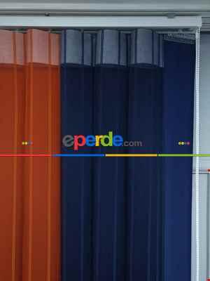 Lens Akıllı Dikey Tül Perde 114- Lacivert-beyaz-kiremit Rengi
