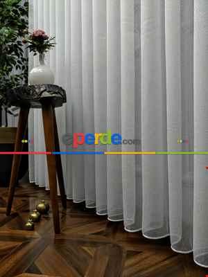 Çocuk Odası Tül Perde - ( Orjinal ) Armür Düz Çizgili Tül Perde - Beyaz