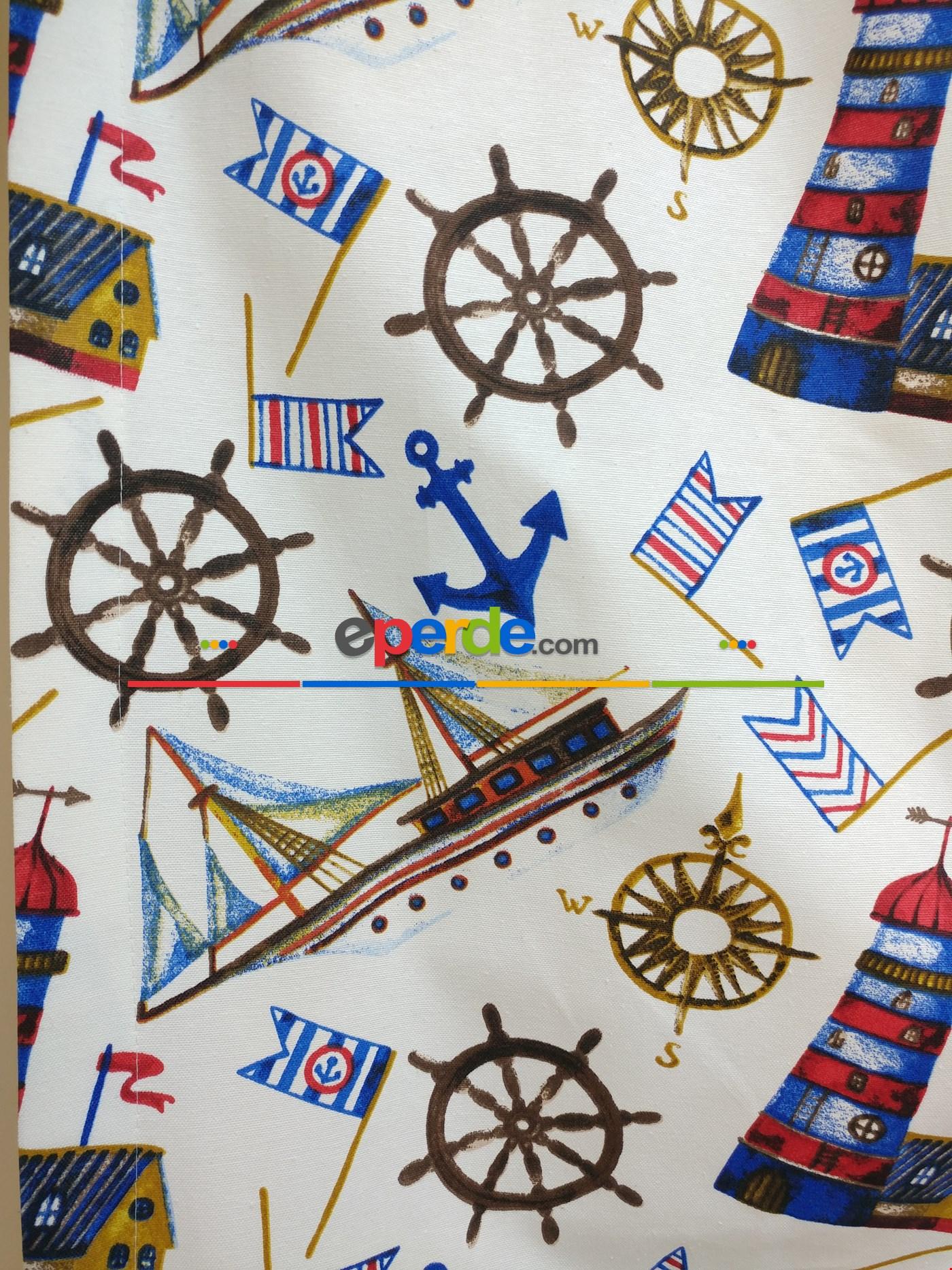 Denizci Gemici Desenli Erkek Çocuk Odası Fon Perde ( Leke Tutmaz )