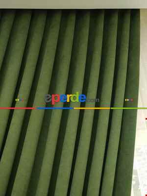 Çimen Yeşili Düz Fon Perde Kumaşı Dökümlü- Yeşil