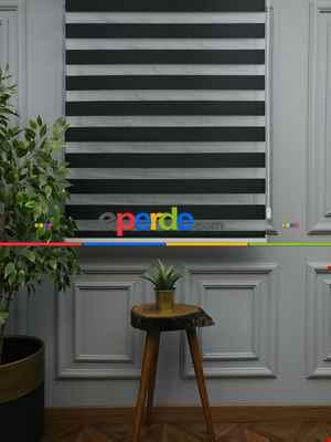 Karartma Zebra Perde - Blackout Zebra Perde-ışık Geçirmez Zebra Perde- Siyah