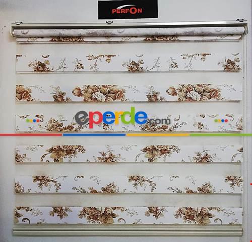 Salon Zebra - Açık Kahve Çiçek Desenli Zebra Perde- Beyaz-Kahve Açık