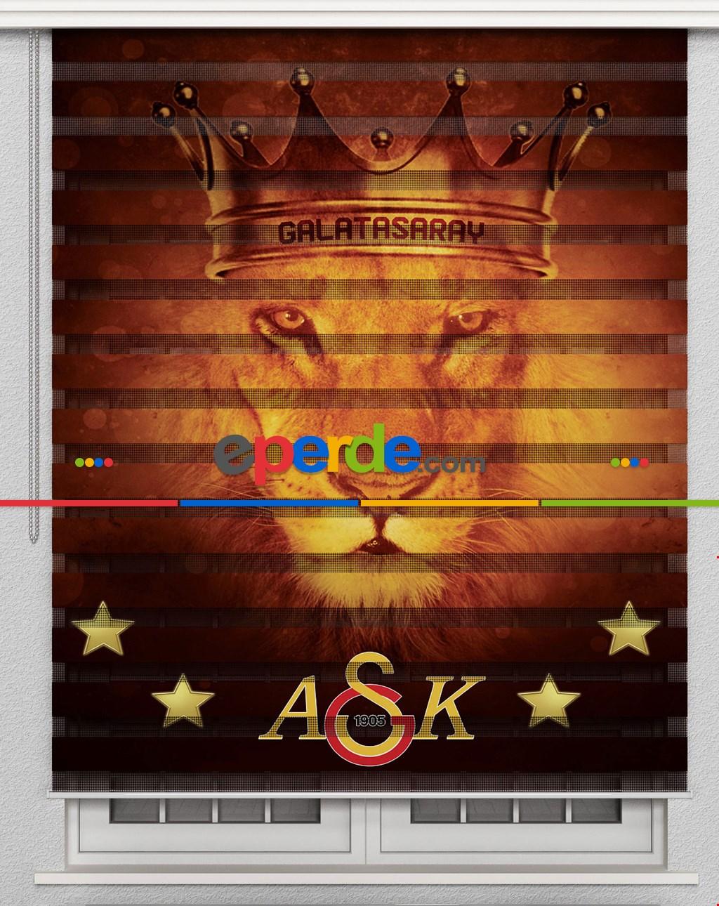Galatasaray Aslan Özel Poster Baskılı Zebra Perde