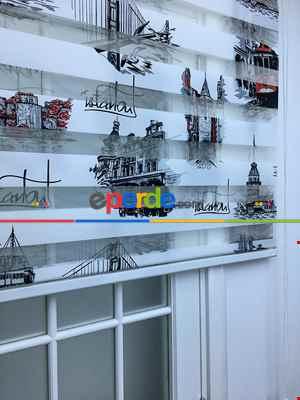 Mutfak - Zebra Perde- İstanbul Baskılı Zebra Perde- Siyah-kırmızı-beyaz