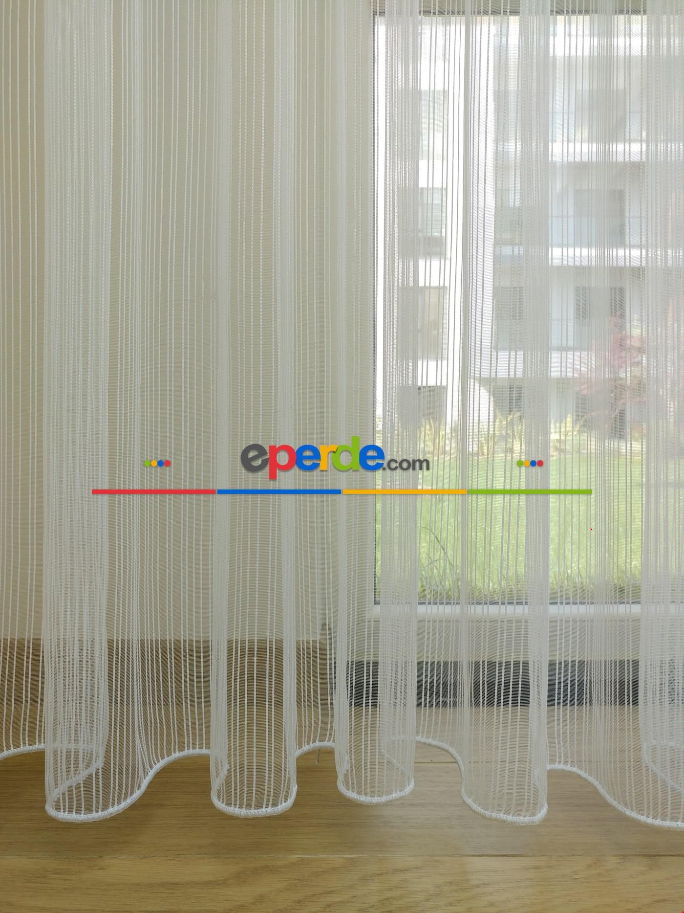Zincir Desenli Düz Armür Tül Perde 2018 (boy 290 Cm )