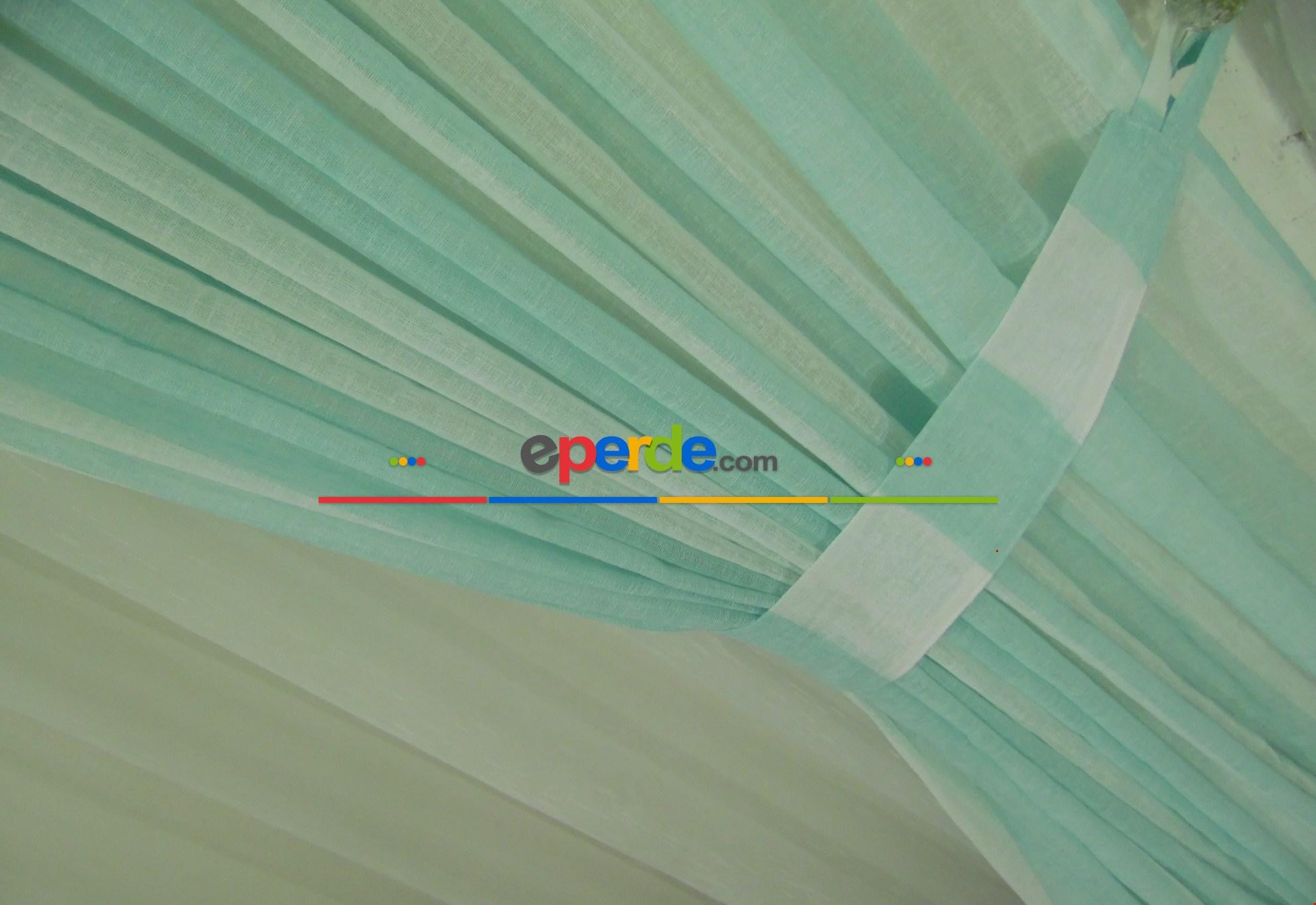 Çizgili Keten Fon Perde - Açıkmavi 80cm X 250cm