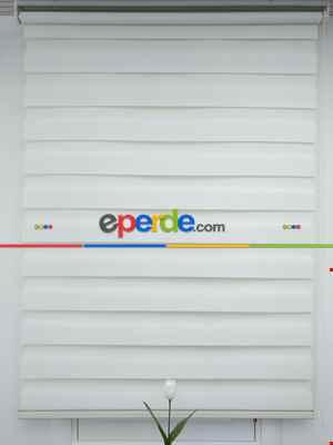 Salon Zebra Perde - Zebra Perde- Ekru Renk Bambu Zebra Perde (kalın Zeminli)- Ekru