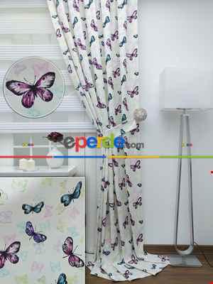 Kelebek Desenli Çocuk Odası Fon Perde ( Leke Tutmaz )- Turkuaz-Mor-Fuşya-Hardal Yeşili