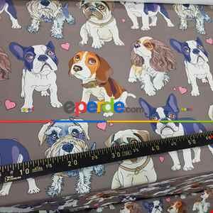 Köpek Desenli Fon Perde Evm623 Kumaşı Kalındır Duck Bezi Değildir- Siyah-Lacivert-Kahverengi-Beyaz-Pembe