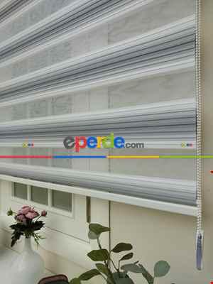 Salon Zebra Perde - Zebra Perde - Degrade Pileli Zebra ( Renk Geçişli Pileli )- Gri-Füme-Antrasit