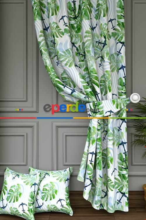 Çocuk Odası - Yeşil Yaprak Ve Çapa Baskılı Fon Perde- Lacivert-Açık Yeşil-Mavi Açık-Ekru