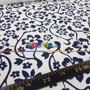 Çiçek Desenli Fon Perde Evm300-8 - Kumaşı Kalındır Duck Bezi Değildir.- Lacivert-Mavi-Beyaz
