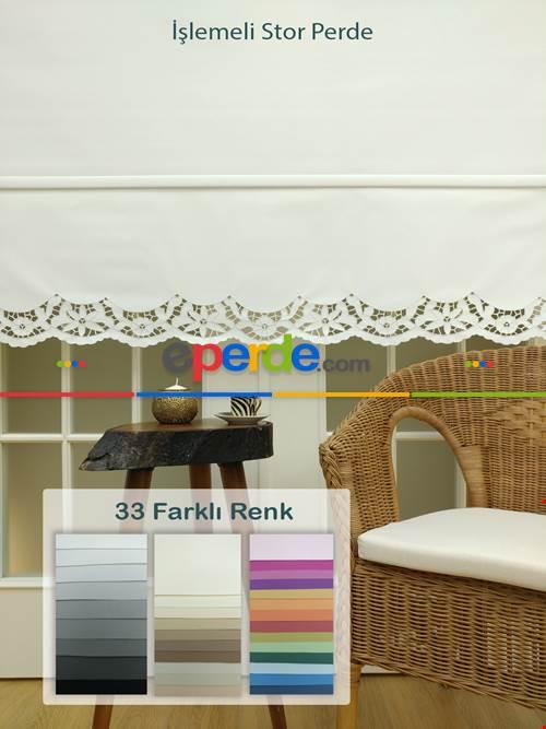 Nakış İşlemeli Stor Perde 33 Farklı Renk Seçeneği- Gri-Füme-Antrasit-Beyaz-Krem-Ekru-Çok Renkli