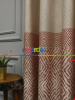 Modern Pano Fon Perde Bantlı Çift Renk - 501- Kiremit Rengi-kum Beji Krem - Kiremit Rengi