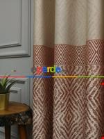 Modern Pano Fon Perde Bantlı Çift Renk - 501- Bej-Füme-Gri Açık Krem - Kiremit Rengi