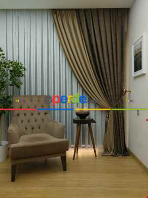 Salon Perdesi - Açık Koyu Kahve Renk Kombinli Desenli Fon Perde- Kahve Koyu