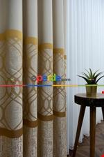 Modern Pano Fon Perde Bantlı Çift Renk - 503- Siyah-Gri-Füme-Antrasit-Bej-Füme Gri Füme Antrasit - Krem - Altın