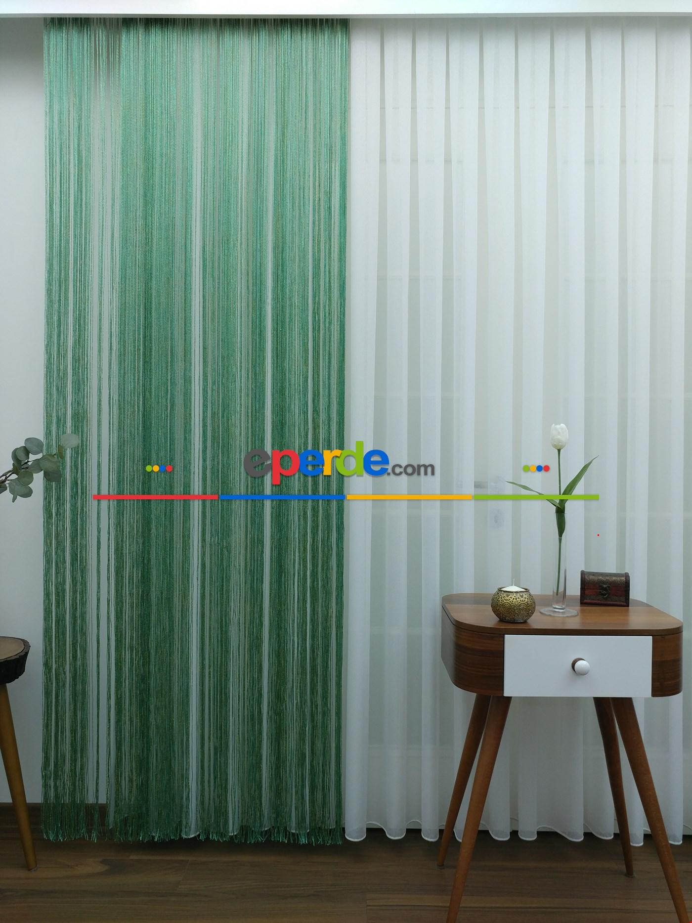 Yeşil ( Altın Simli ) - İp Perde Simli Seri