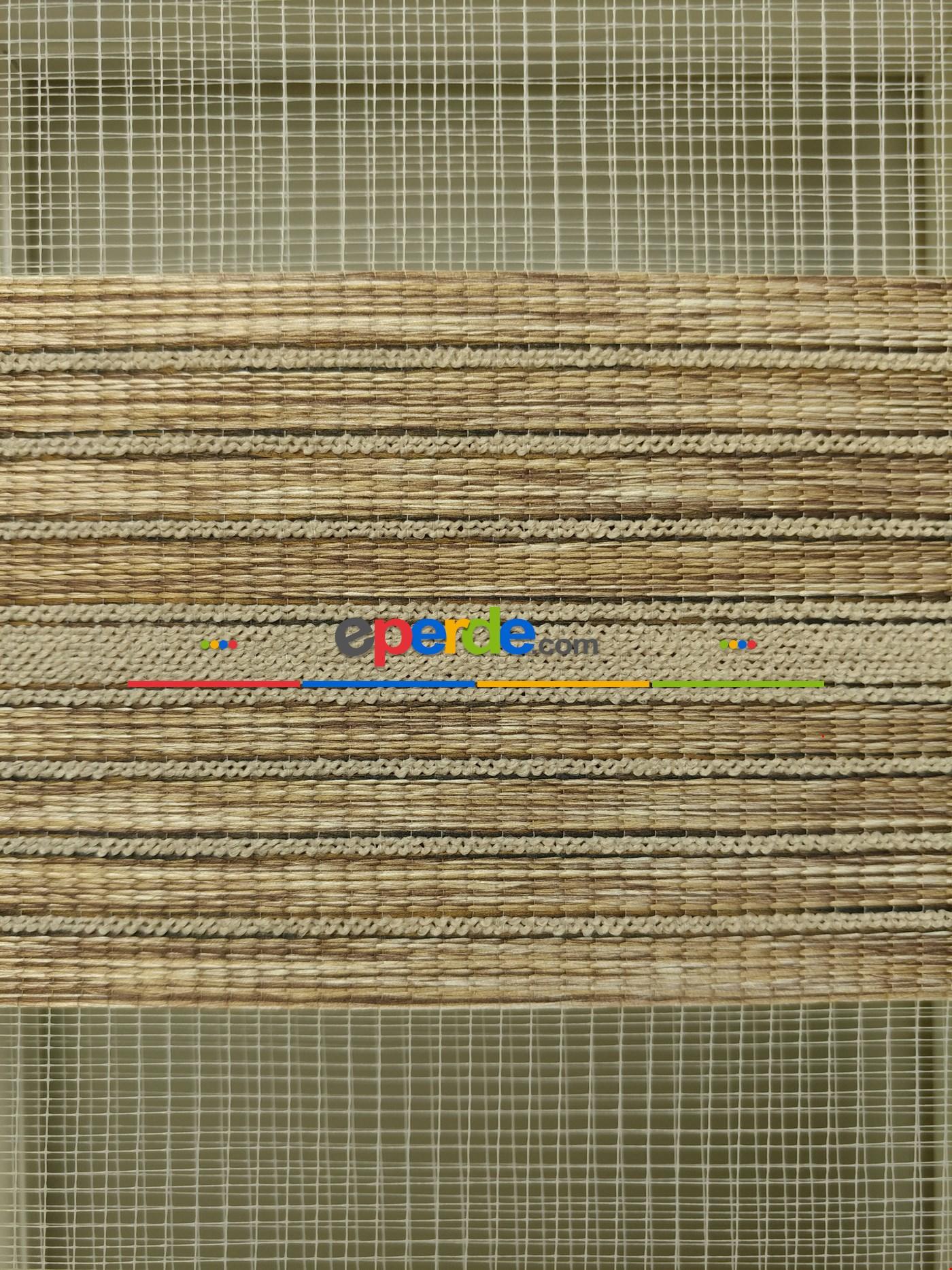 Zebra Perde - Nehir Vizon-kahve Renk Bambu (geçiş Zeminli)