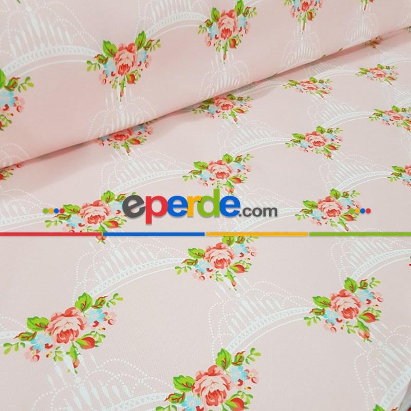 Çiçek Desenli Fon Perde K324- Kumaşı Kalındır Duck Bezi Değildir- Beyaz-Pembe-Çok Renkli