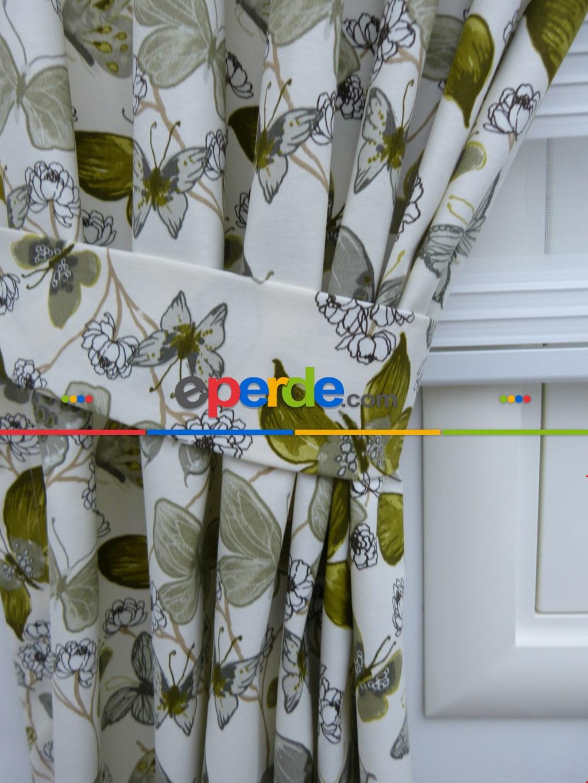 Kelebek Desenli Fon Perde Pembe Mor ( Leke Tutmaz ) Açık Yeşil