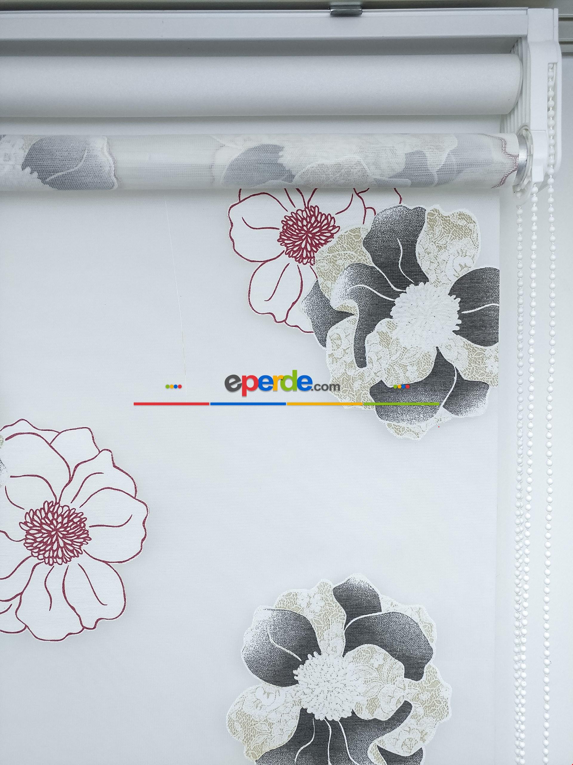 Siyah Çiçek Desenli Tül Stor Perde