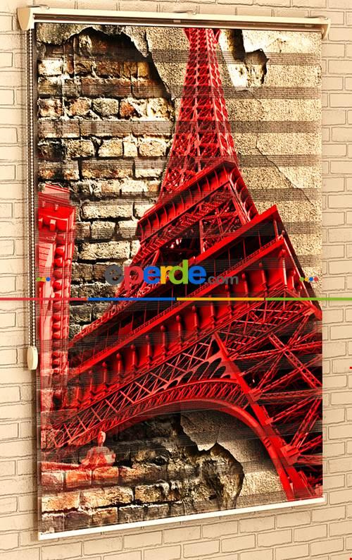 Salon Paris Eyfel Kulesi- Baskılı Zebra Stor Perde