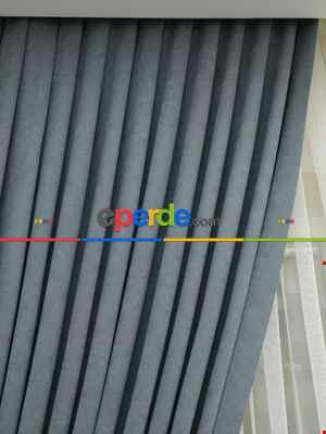 Gri Rengi Düz Fon Perde Kumaşı Dökümlü- Gri-füme-antrasit