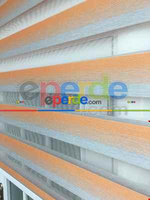 Salon Zebra - Oranj-gri Bambu Zebra Perde Degrade Geçişli- Diğer