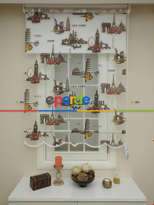 Çocuk Odası Perde - Çiftli Sistem Tül Stor Perde- Kırmızı