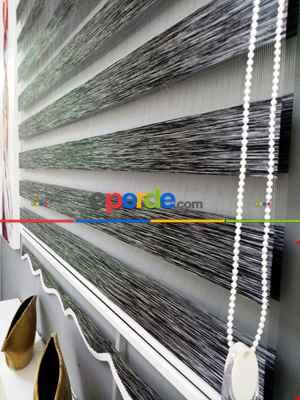 Bambu Zebra 2021 Sezonu Siyah-gri Kırçıllı A Kalite Bambu Zebra Perde- Siyah