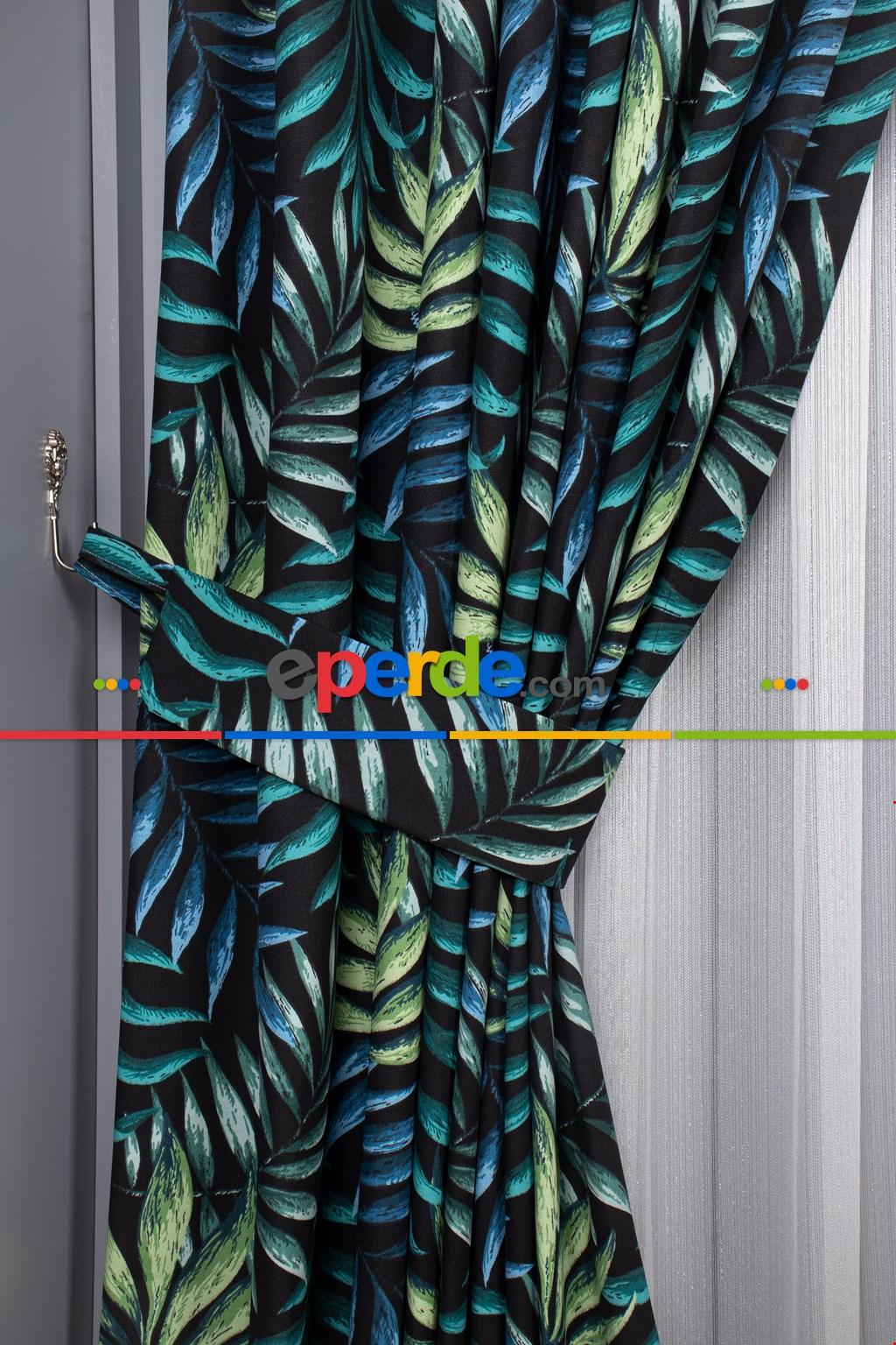 Salon - Tropikal Desenli Fon Perde ( Leke Tutmaz)-  Çok Renkli 3