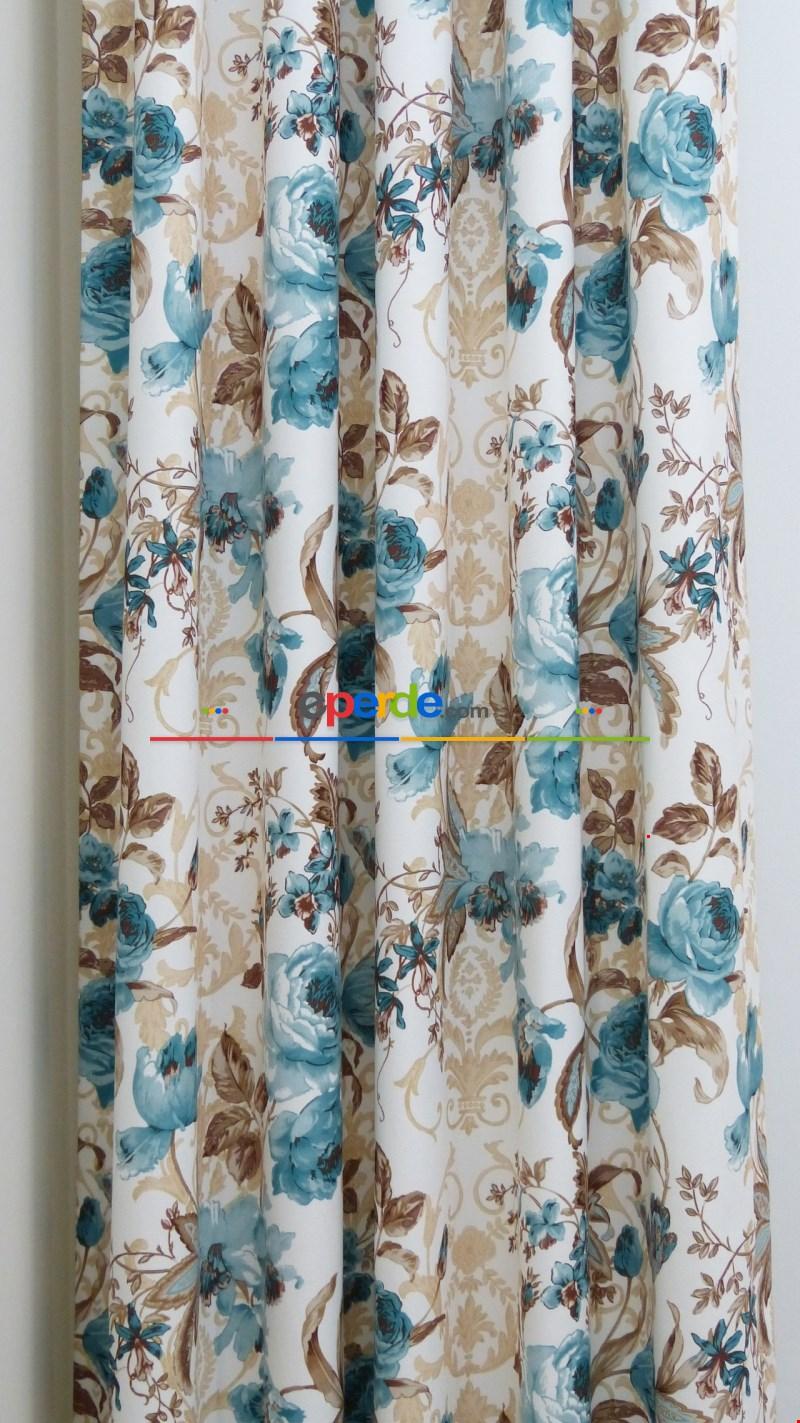 Fon Perde Desenli 55487 Çiçekli ( Turkuaz - Kahve )