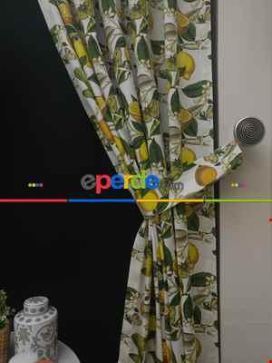 Mutfak Perdesi Kanat Fon Perde Lİmon Desenli- Yeşil