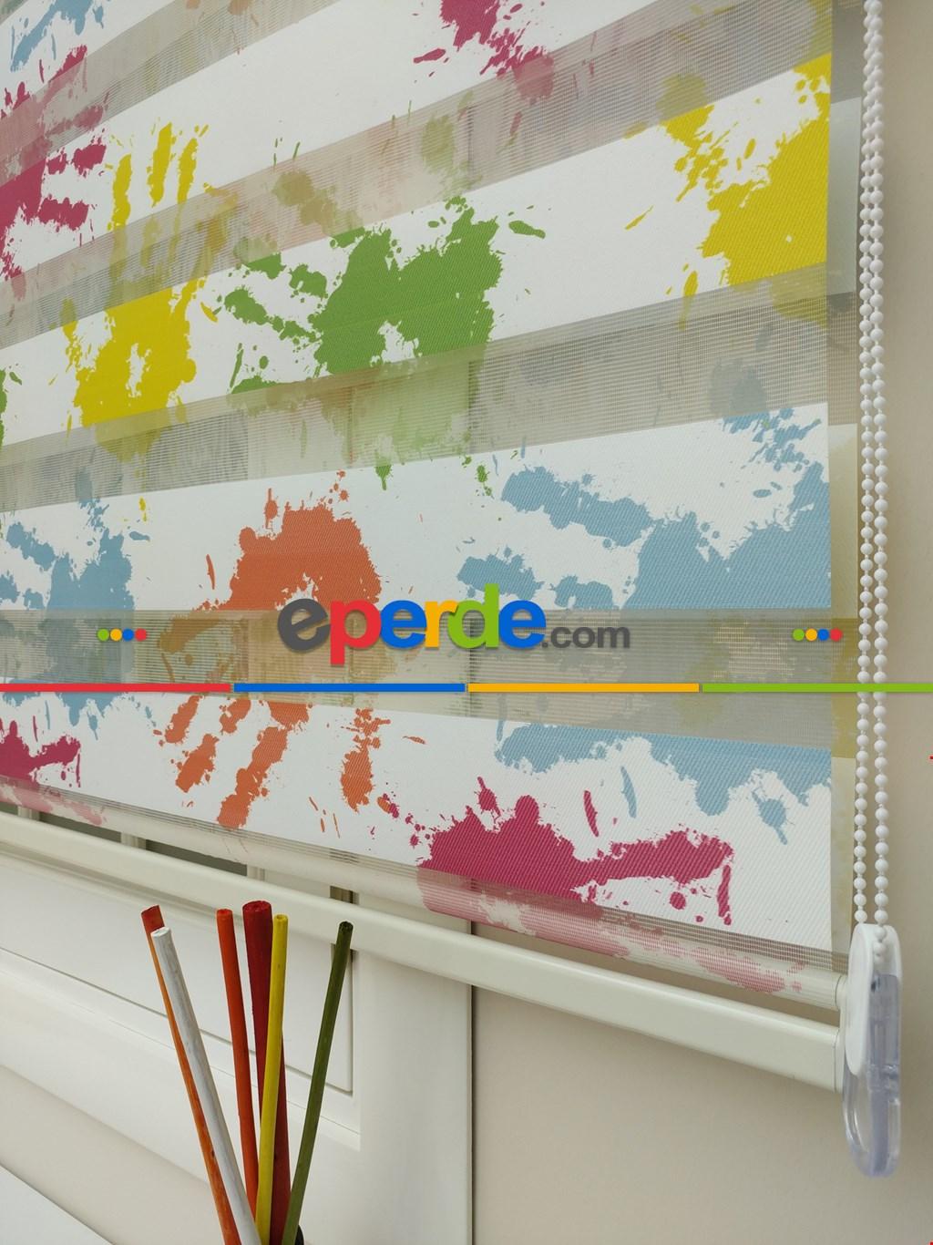 Çocuk Odası - El İzi Baskılı Renkli Zebra Perde- Yeşil