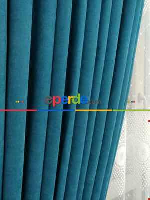 Petrol Rengi Düz Fon Perde ( En 150cm Dökümlü Fon )- Petrol Mavisi